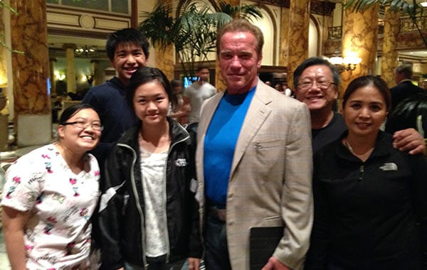 Dr. Jim Savage and Arnold Schwarzenegger