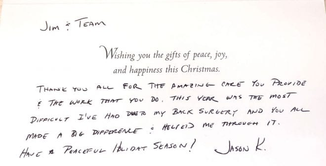 A handwritten note reflecting the text of the post