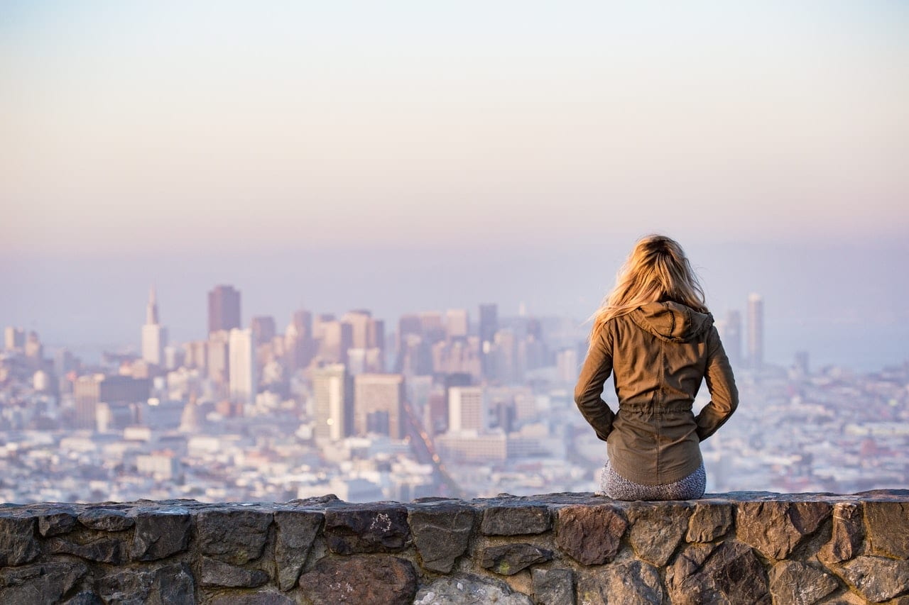 student overlooking san francisco