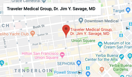 Traveler Medical Group and Dr. Jim Savage, MD are located in downtown San Francisco on 490 Post Street, Suite 225